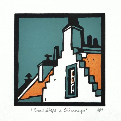 Crowsteps & Chimneys 80mm x 80mm Unmounted £25.00